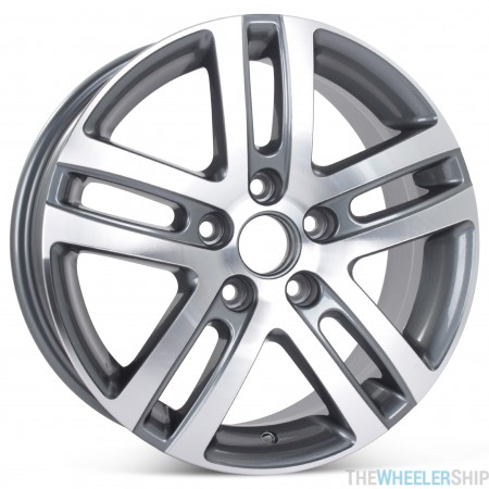 """New 16"""" Alloy Wheel for Volkswagen Jetta VW 2005 2006 2007 2008 2009 2010 2011 2012 2013 2014 2015 2016 2017 Machined with Charcoal Rim 69812"""