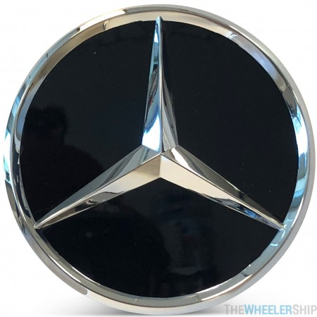 OE Genuine Mercedes Center Cap Black W/ Chrome Logo CAP6009