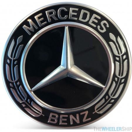 OE Genuine Mercedes Center Cap All Black W/ Black Wreath CAP9227