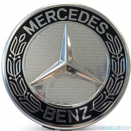 OE Genuine Mercedes Center Cap Black Wreath W/ Silver CAP9994