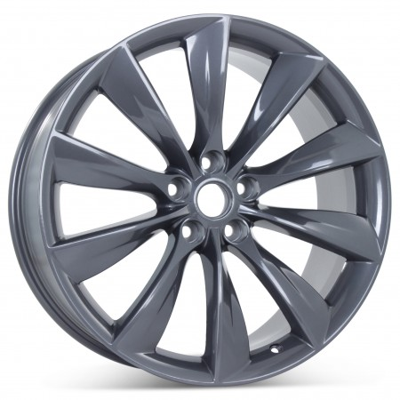 "New 21"" x 9"" Rear Wheel for Tesla Model S 2012 2013 2014 2015 2016 2017 Gray Rim 97095"