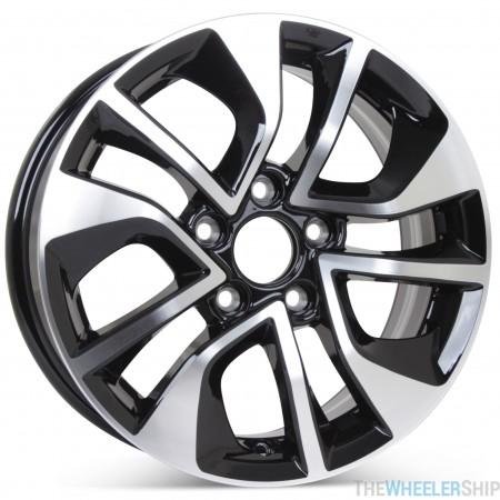 "New 16"" Replacement Wheel for Honda Civic 2013 2014 2015 Machined w/Black Rim 64054"