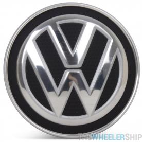 OE Genuine Volkswagen Center Cap Matte Black (Carbon Fiber) W/ Chrome Logo CAP3428