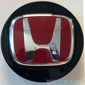 OE Genuine Honda Center Cap Black with Red R Racing Circle Chrome Logo