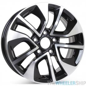 "New 16"" Replacement Wheel for Honda Civic 2013 2014 2015 Machined w/Black Rim 64054"