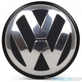 OE Genuine Volkswagen Center Cap Black W/ Chrome Logo CAP9696