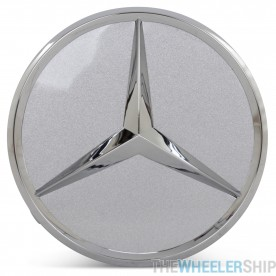 OE Genuine Mercedes Center Cap Silver W/ Chrome Logo CAP6192