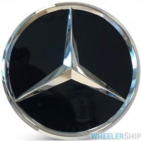 OE Genuine Mercedes Center Cap Black W/ Chrome Logo CAP6009