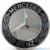 OE Genuine Mercedes Center Cap Black Wreath W/ Silver CAP9994