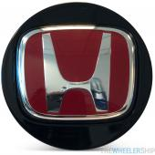 OE Genuine Honda Accord Center Cap Black with Red R Racing Circle Chrome Logo CAP6222