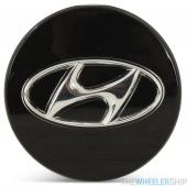 OE Genuine Hyundai Black Center Cap W/Chrome Logo CAP3000
