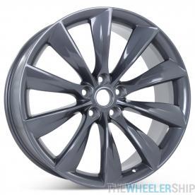 "New 21"" x 9"" Rear Wheel for Tesla Model S 2012 2013 2014 2015 2016 2017 Gray Rim 97095"